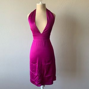 French Connection Hot Pink Halter Cocktail Dress